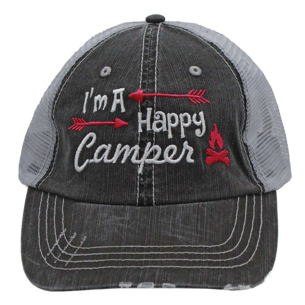Hot Pink I'm am A Happy Camper Women Embroidered Trucker Style Cap Hat Rocks any Outfit