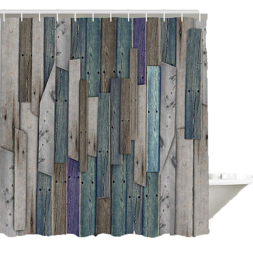 Enipate Shower Curtain Barn House Wood and Nails Lodge Hardwood Graphic Print Waterproof Digital Printing with Hooks 71 Inch