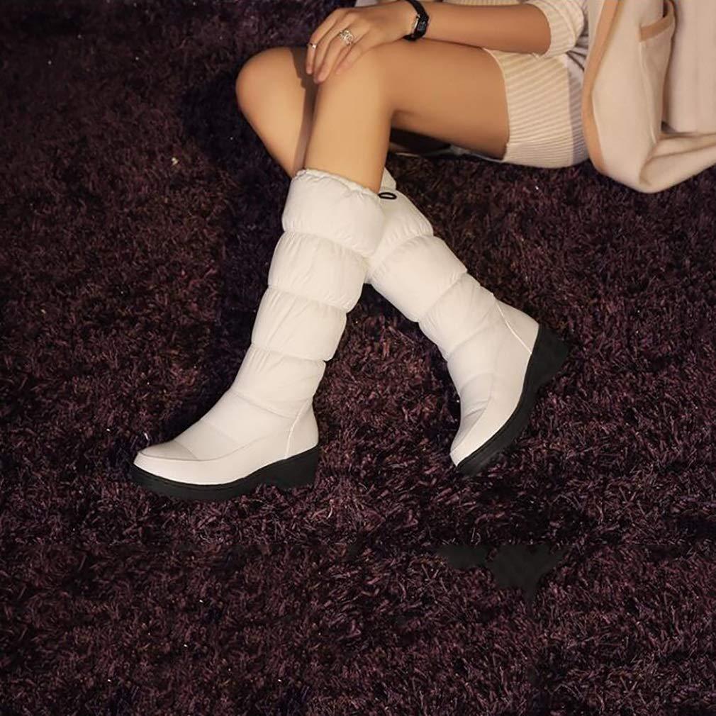 Hy Damen Schneestiefel Stiefel Frühling Herbst Komfort Komfort Flache Stiefel Schuhe Damen Warm Winddicht Hohe Stiefel Flache Weiß Schwarz Blau (Farbe   Weiß Größe   39) 737186