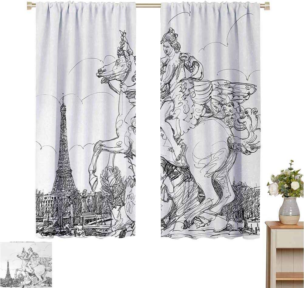 Cortinas correderas Antiguo, paisaje urbano europeo Francia Escultura histórica Caballo de cría Estampado de la torre Eiffel, Blanco negro, Paneles de cortina con bolsillo de varilla para dormitorio y
