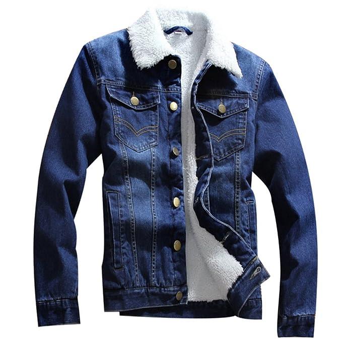 ZKOO Chaquetas Vaqueras para Hombre Forro de Terciopelo Chaqueta De Mezclilla Denim Jacket Outwear Calentar Otoño e Invierno Azul Oscuro
