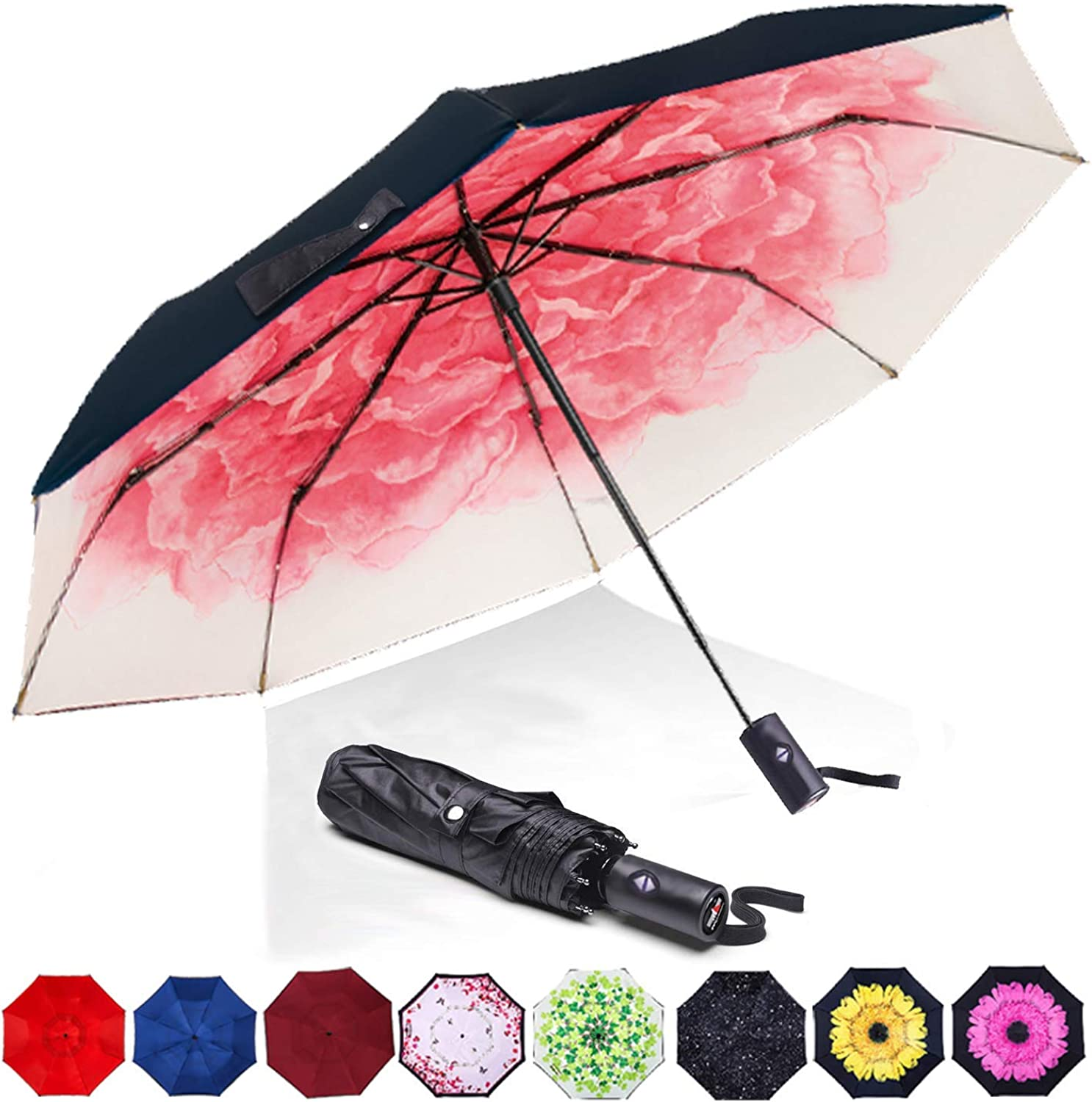TLMY Sunscreen Black Umbrella Folding Umbrella Women UV Sun Umbrellas Umbrella Color : Pink