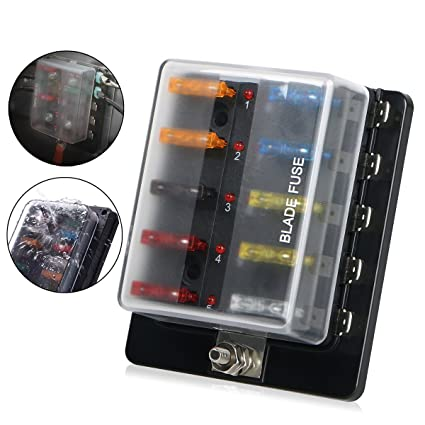 10 way blade fuse box holder linkstyle automotive fuse block box holder dc 32v with led warning light kit for car boat marine trike rh amazon com fuse box car lighter car fuse box cigarette lighter