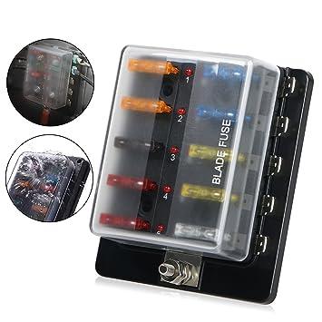 amazon com 10 way blade fuse box holder, linkstyle automotive Car Fuse Box Replacement  Electronic Fuse Holders 80 Amp Fuse Glass Fuse Holder