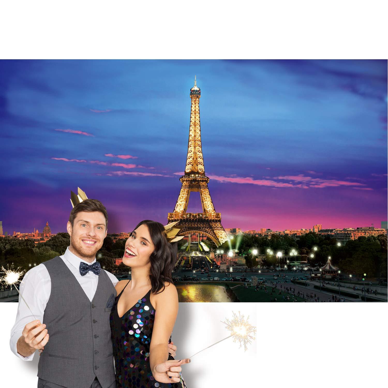 Pancarta de Pared de Vista Nocturna de Par/ís 6 x 3,6 Pies con 4 Agujeros de Cobre y 19,7 Pies de Cordel Negro Pancarta de Fondo de Torre Eiffel de Par/ís Foto Props