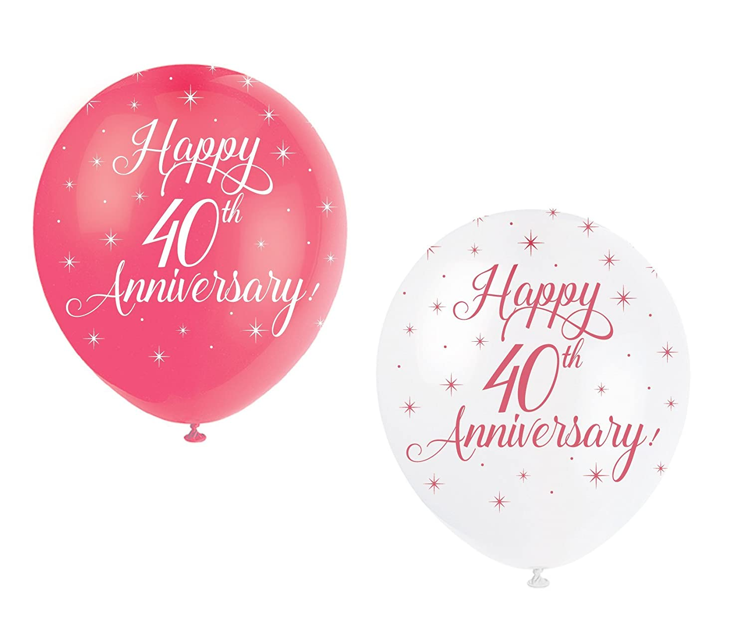 Unique Party 80249-12 Pearlised Latex Assorted Happy Anniversary Balloons Pack of 5