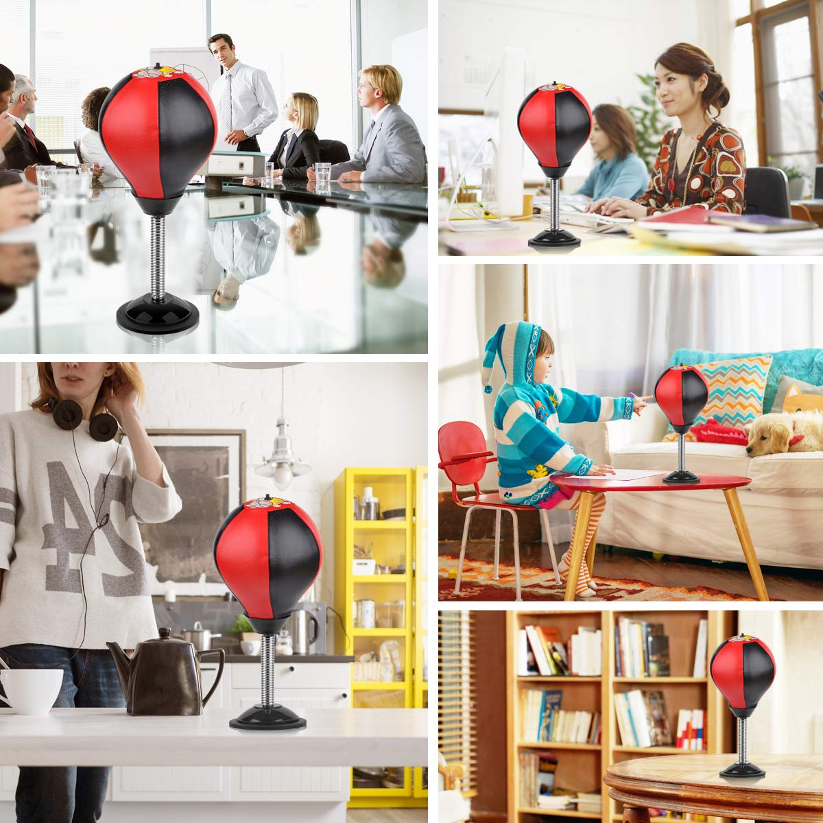 Cyrus Desktop Punching Bag Stress Buster Ball Stress Relief Toys with Pump for Office Home Kids Adults