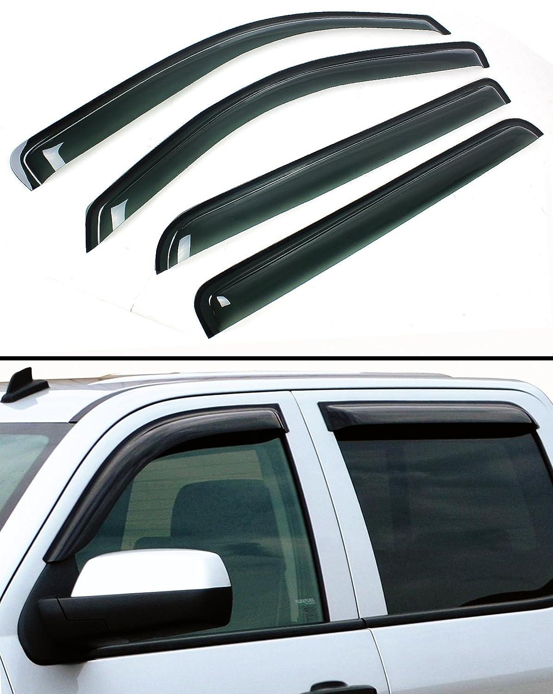 Rain Guards For Trucks >> Cuztom Tuning Fits For 2015 2017 Chevy Silverado Gmc Sierra Crew Cab Smoke Window Visor Vent Rain Guard