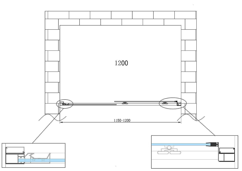 Laneri Porte de douche coulissante anti-calcaire Nicchia 135 x 140 cm