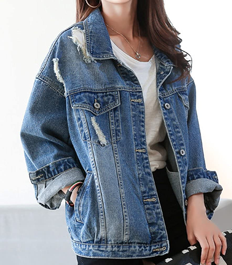 288f7a2c5 Yasong Women Girls Loose Fit Long Sleeve Vintage Denim Light Wash Faded  Ripped Boyfriend Jean Jacket: Amazon.co.uk: Clothing