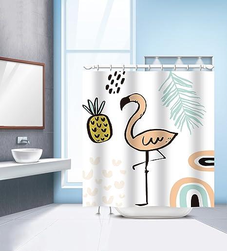 Mural Art Flamingo Shower Curtain Funny Animal Patterns Bath Waterproof Polyester Fabric 3D Digital Printing