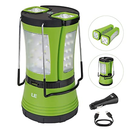 LE 600lm Rechargeable LED Camping Lantern Detachable Portable Flashlight Torch Water Resistant Tent Light with USB Cable Car Charger for Camping Hiking Outdoor Portable LED Lantern