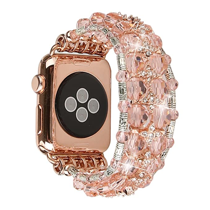 b061c79349 GEMEK Bling Women Bracelet Compatible with Apple Watch Band 42mm 44mm  iWatch Series 4 3 2 1, Mantis Shrimp Diamond Rhinestone Elastic Stretch  Strap ...