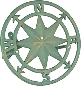 Zeckos Cast Iron Compass Rose Wall Mounted Decorative Hanging Garden Hose Holder Verdigris Green Finish