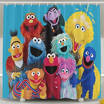 Ooiilpe Sesame Street Mildew Shower Curtain Waterproof Non Toxic Eco Friendly No Chemical Odor Bathroom
