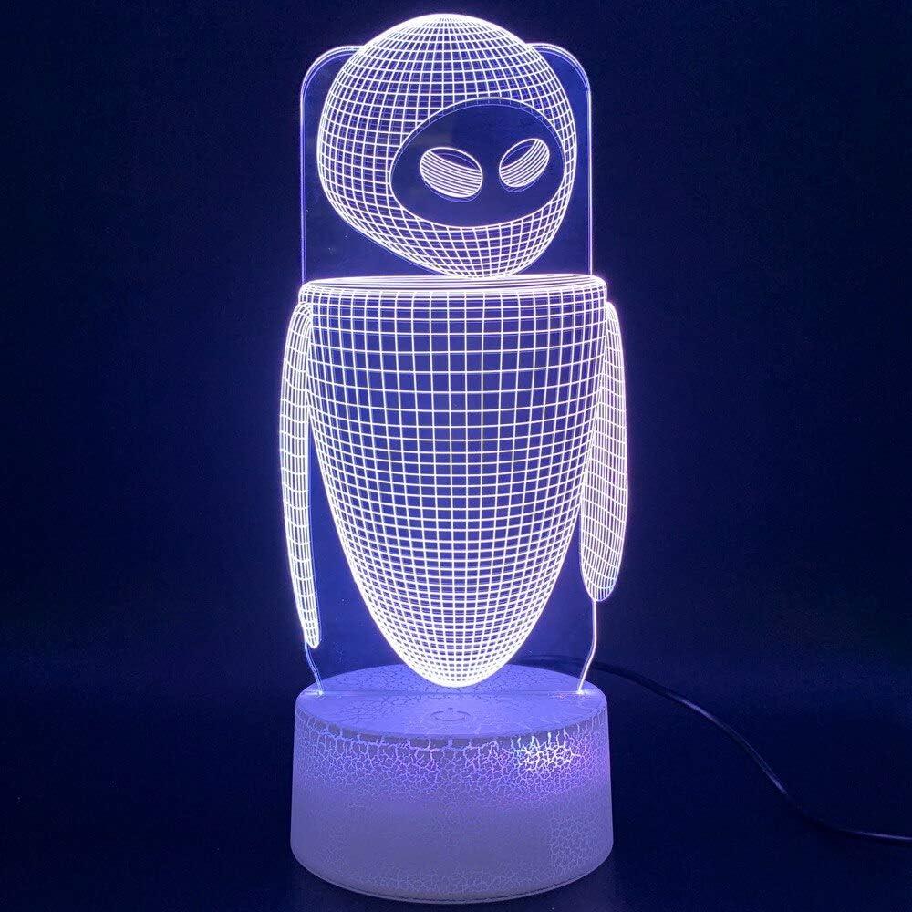 Luz de noche Led película WALL E 2 Robot Eva figura 3D lámpara Lampara decoración del hogar regalo de cumpleaños niños bebé novedad luces