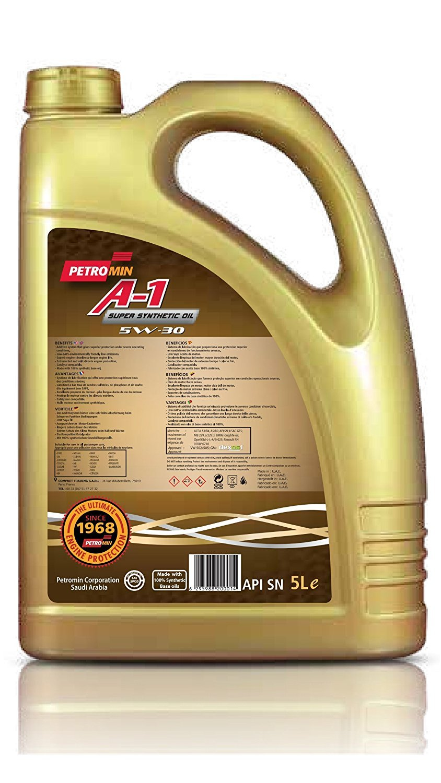 Petromin A1 Super SINTÉTICO Aceite 5W30 Sn Lubricante, 5 Liter