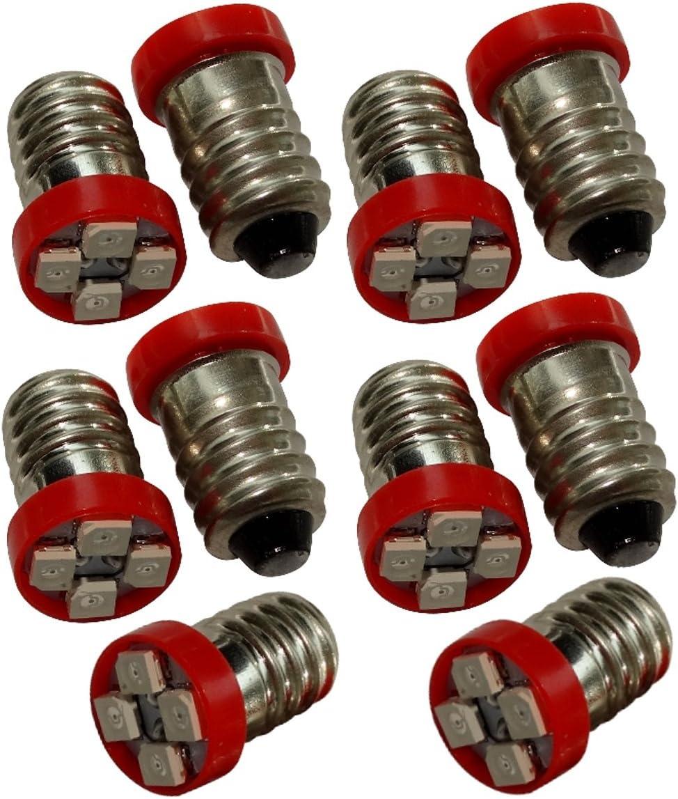 AERZETIX: 10x Bombillas E10 4LED SMD 24V luz rojo C17480