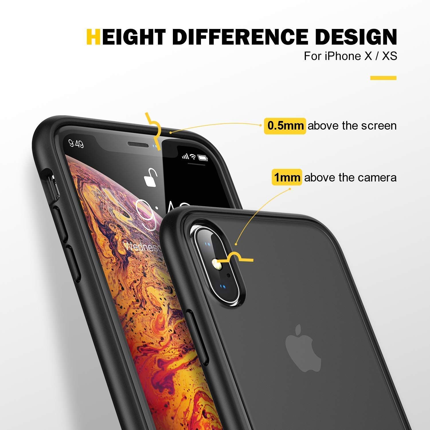 on sale 3fefa 98aa3 Details about iPhone X Case, iPhone Xs Case Military Grade Drop Tested  Translucent Matte CASE
