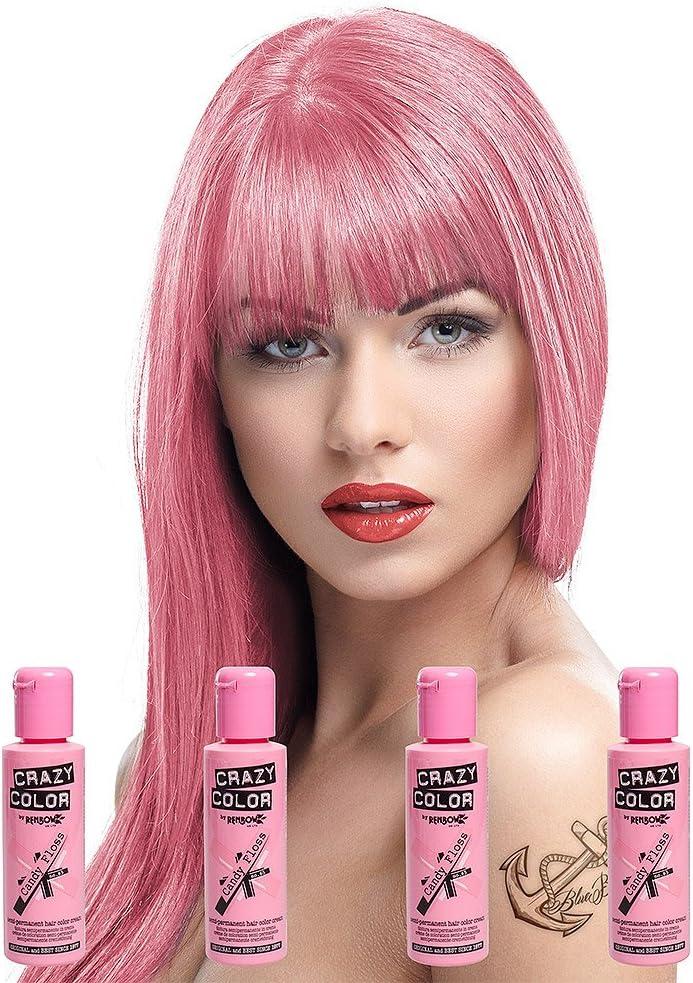 Crazy Color - Tinte semipermanente para el cabello (4 unidades), color rosa pastel