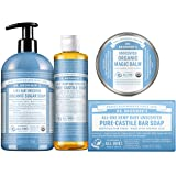 Dr. Bronner's Baby Unscented Gift Set - Pure-Castile Liquid and Bar Soaps, Organic Magic Balm, and 4-in-1 Organic Sugar Pump