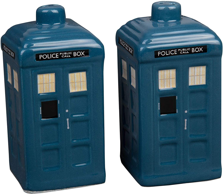Doctor Who Tardis Salt and Pepper Shaker Set - Ceramic Dr. Who Tardis Design
