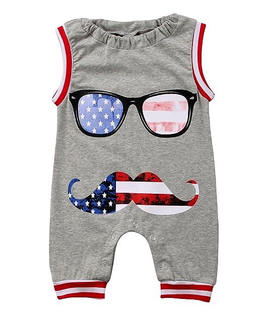 7211ad4c1cc4 Toddler Boys Girls USA Flag Stripe Star Print Romper One Piece Moustache Onesies  Jumpsuit Size 0