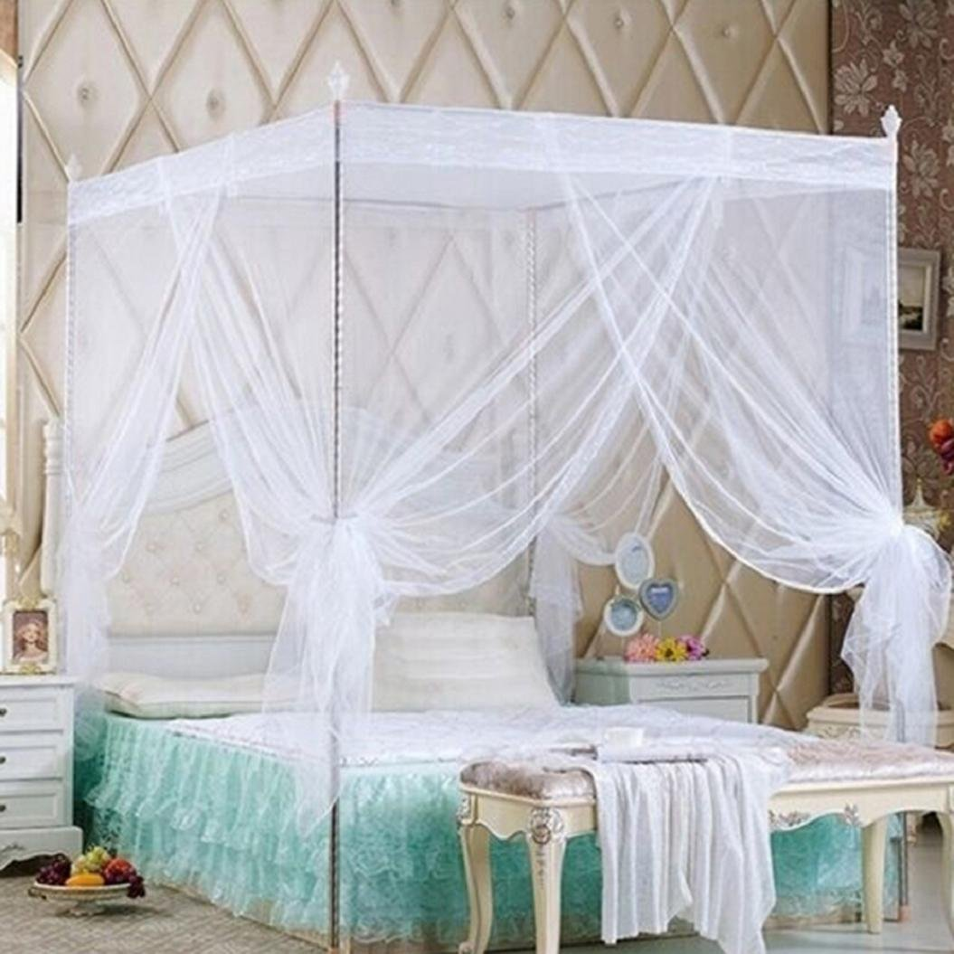 Bluelans 4 Corner Post Bed Canopy Mosquito Net, Netting Bedding, Twin/Full/Queen/King, White