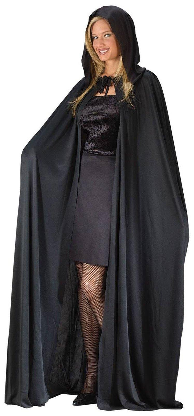 Adult 68'' Black Hooded Cape - Black by Fun World Costumes (Image #1)