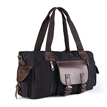 Small Overnight Bag Men Women Travel Duffel Bag Canvas Weekender Overnight  Bag with PU Leather for 7963a8b4c6