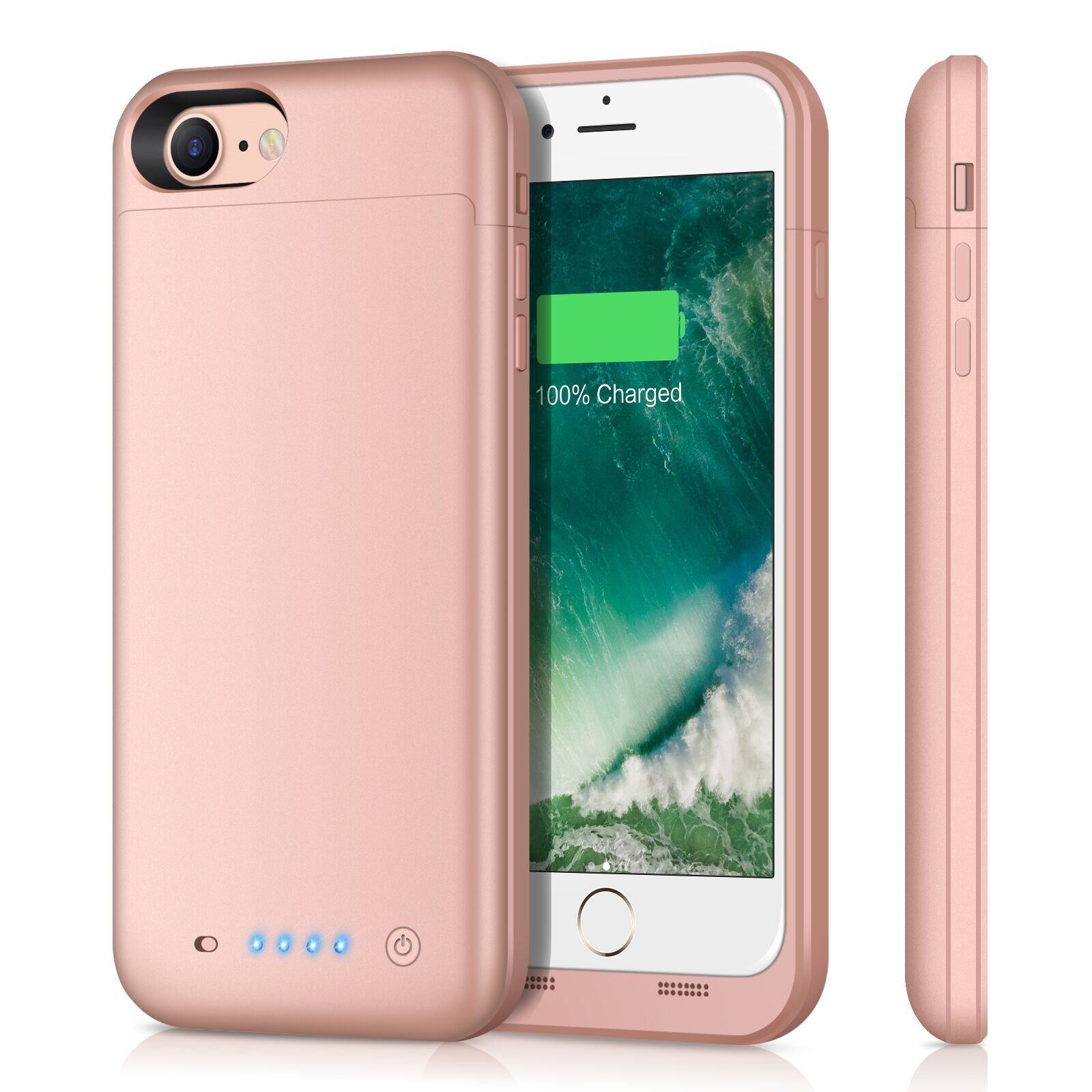 iPhone 8 7 Battery Case|iPosible 4500mAh Portable Slim Charging Cases for iPhone 7/8 (4.7inch) Extended Protective Bankup Pack Charger Cover-Rose Gold