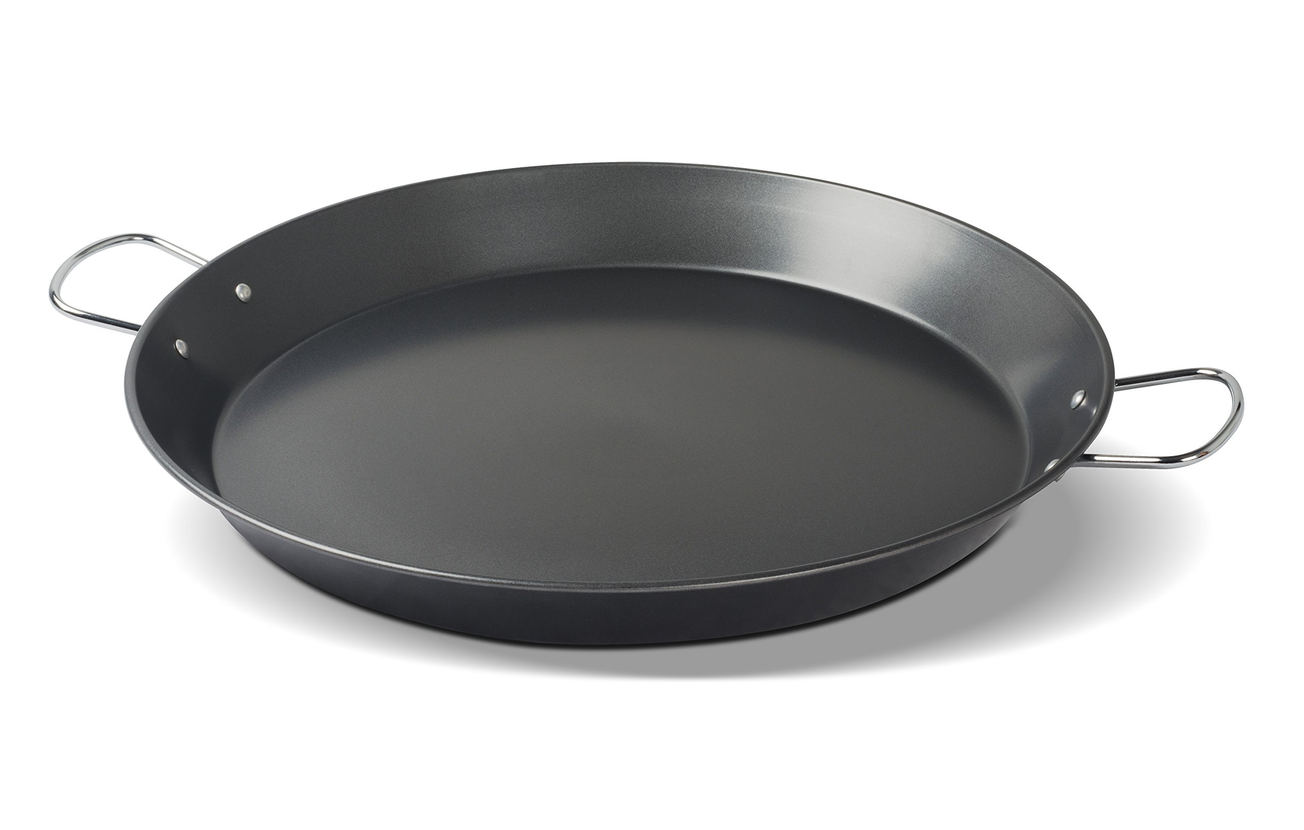 EVERPRIDE Restaurant Spanish Paella Pan | Large (16''), Round, Carbon Steel | Cook Rice, Seafood, Jambalaya | Stove, Grill, and Burner Safe | Riveted Carrying Handles | 5-8 Servings