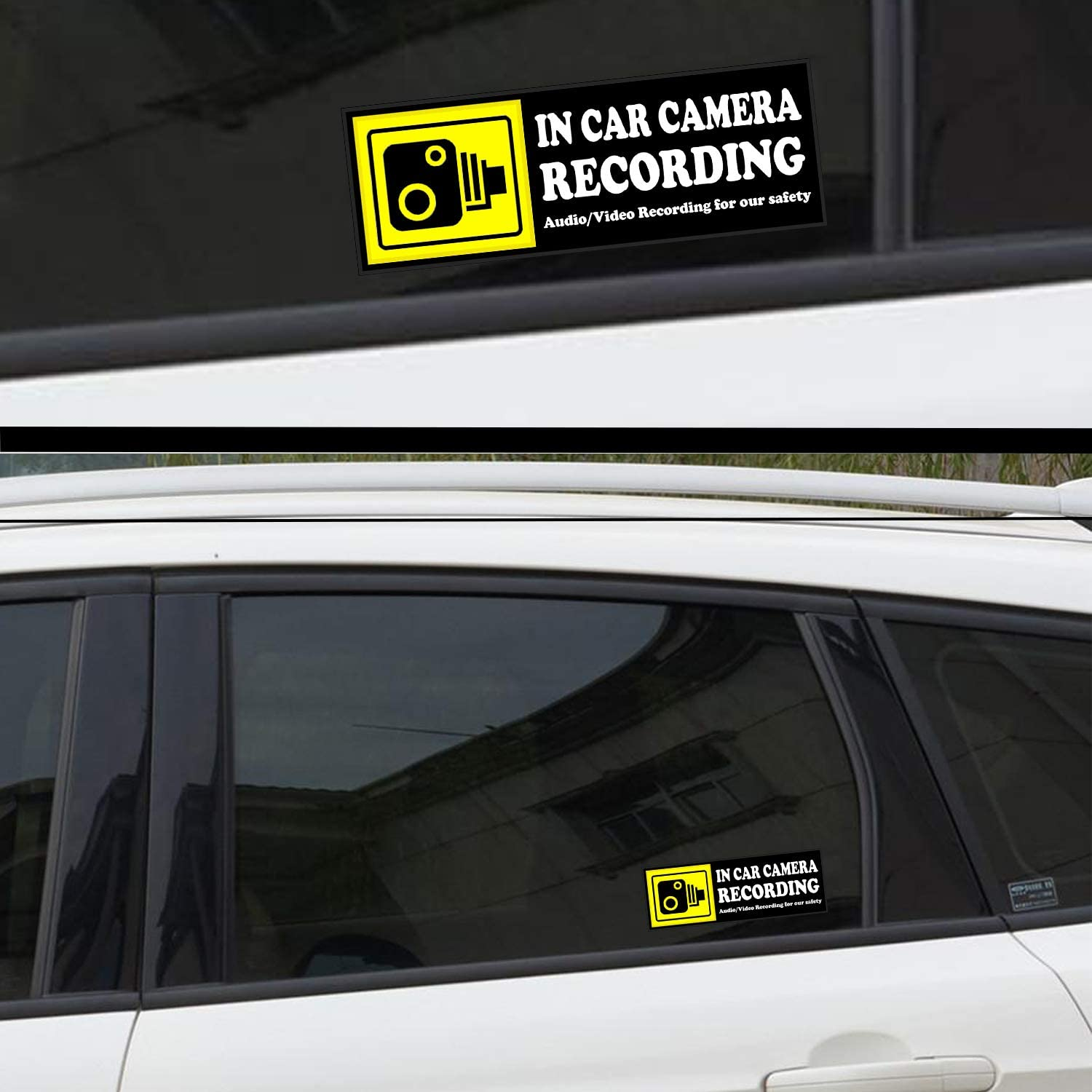 qty x 4  CCTV FRONT /& REAR CHOICE OF SIZES THIS VEHICLE  PRINTED STICKER