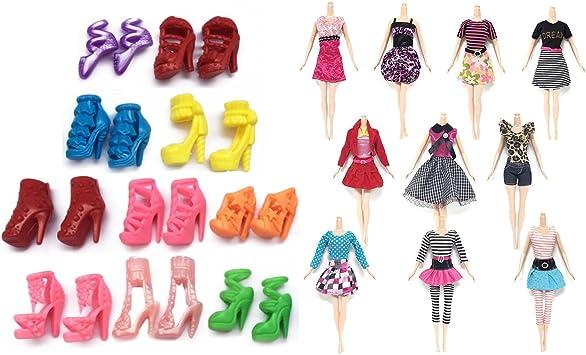 Abito Per Barbie 10pcs Beetest Vestiti Per Barbie Abiti Da Sposa Abbigliament Con 10 Pair Accessori Di Scarpe Per Giocattoli Di Barbie Stile Casuale Amazon It Giochi E Giocattoli
