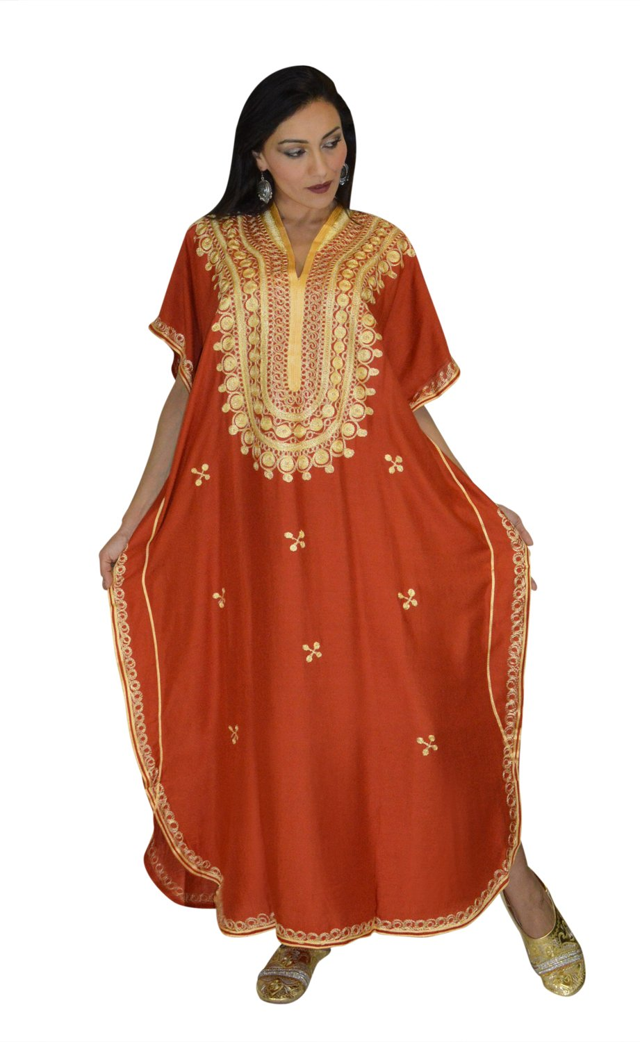 Moroccan Caftan Hand Made Top Quality Breathable Cotton with Gold Hand Embroidery Long Length Orange