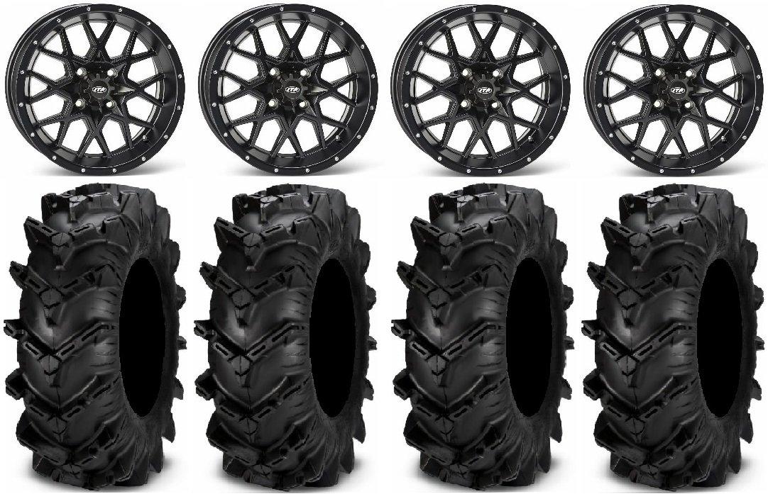 Bundle - 9 Items: ITP Hurricane 14'' Wheels Black 30'' Cryptid Tires [4x137 Bolt Pattern 10mmx1.25 Lug Kit]