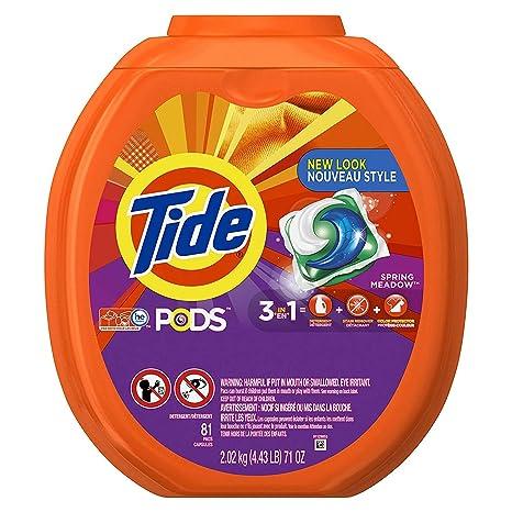 Tide Pods 3 en 1 HE Turbo detergente para la colada, aroma de pradera de