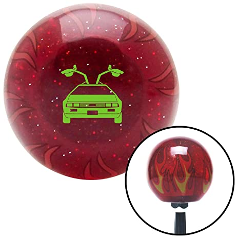 Blue Simply Clean Red Flame Metal Flake with M16 x 1.5 Insert American Shifter 297489 Shift Knob