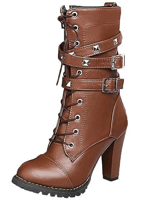 Scothen Botines elegantes para mujer Botas de trabajo Botas de cuero acolchado Botas de motorista Botas
