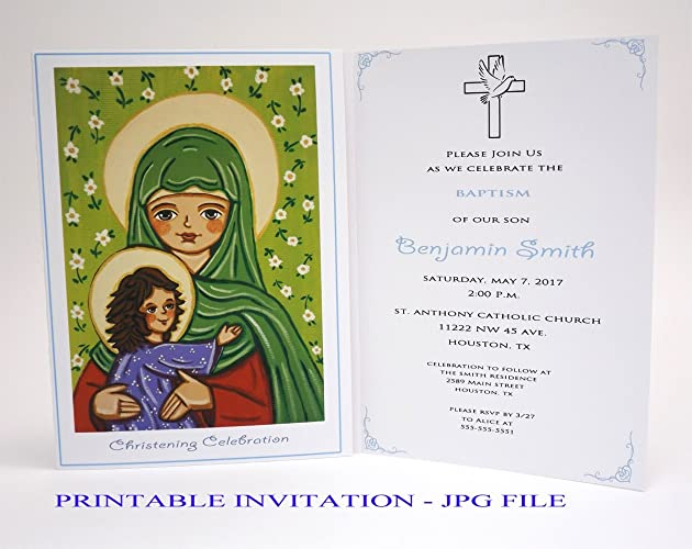 amazon com saint elizabeth john baptist boy baptism invitation boy