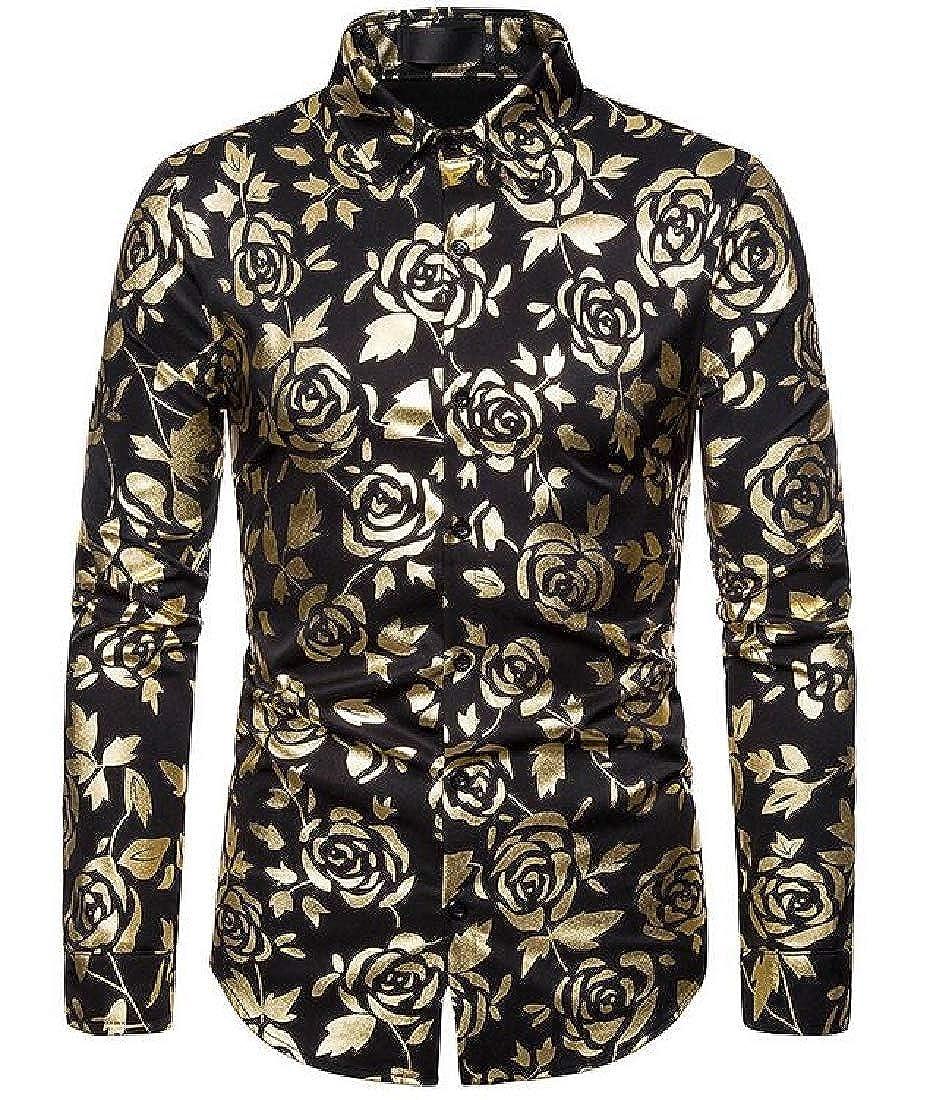 Jotebriyo Men Club Stylish Floral Print Buttons Long Sleeve Dress Shirts