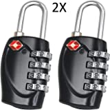 F-Travel 4 Digit Combination Padlock TSA Approved Luggage Lock Number Code Lock for Travel Suitcases Luggage Bag School Gym Lockers Filing Cabinets Toolbox Case 2 Pack(Black)