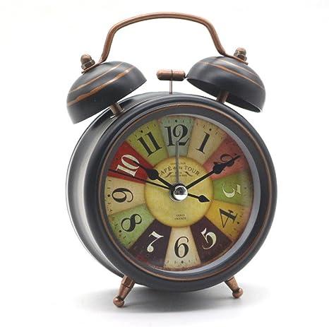 ZRJNYL Antiguo reloj de alarma de Bell doble Reloj de cama vintage Mini no-ticking