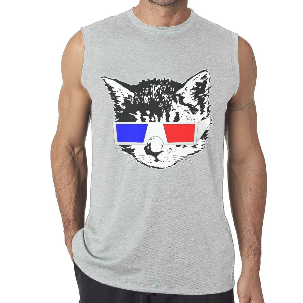 Sleeveless Vest Shirt Fit Men Cat Looking at 3D