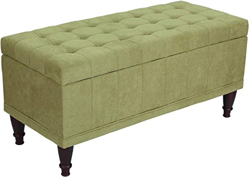 Adeco Fabric Sturdy Design Rectangular Tufted Lift Top Storage Ottoman Bench Footstool with Solid Wood Legs and Nailhead Trim Green