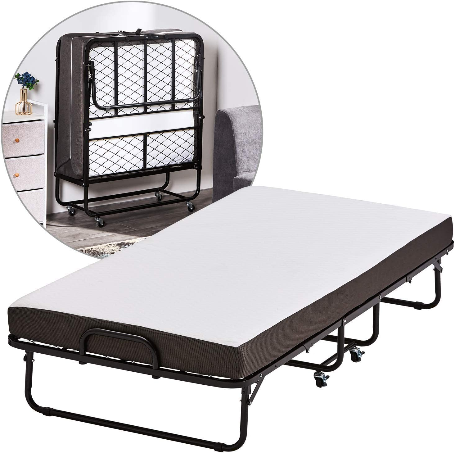 - DICTAC Folding Bed/Guest Bed, Extra Guest Bed With 5 Inch Mattress,  Portable Bed Frame On Wheels - Easy Storage - Space Saving -No Tools  Required: Amazon.co.uk: Kitchen & Home