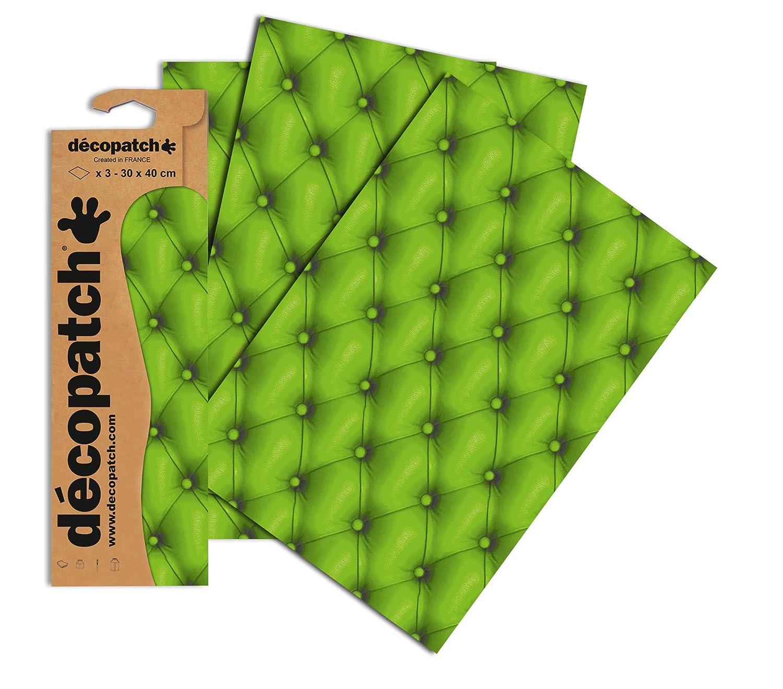 Verde Decopatch Carta Decorativa Disegno Pad 395 x 298 Millimetri 3 Pezzi