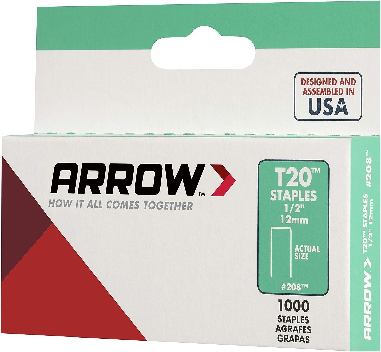 Arrow Fastener 208 Genuine T20 1//2-inch All-Purpose Staples 12mm 1000-Pack