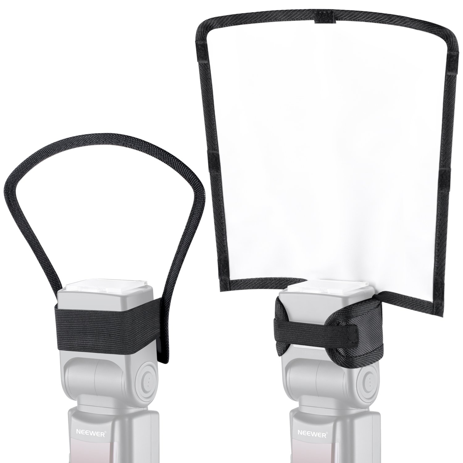 Neewer 2 Pieces Camera Speedlite Flash Softbox Diffuser Kit, 10x9x8inches Bendable White Reflector and 7x8x4 inches Silver/White Two-Side Reflector, Universal Mount for Nikon Canon Sony by Neewer