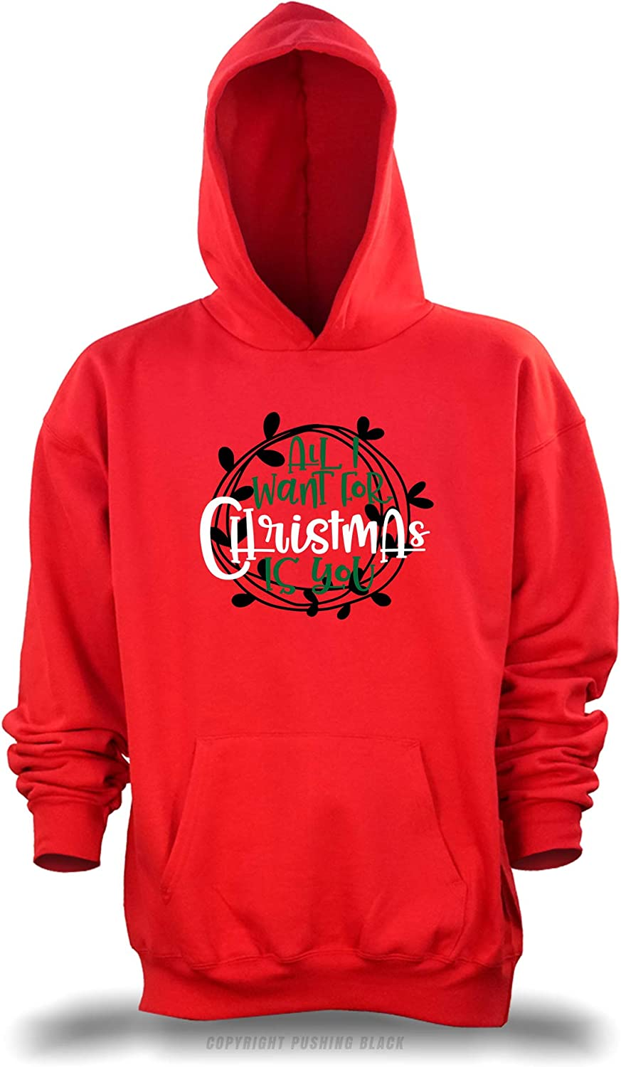 Gildan PUSHING BLACK All I Want for Christmas for You Unisex Pullover Hoodie , 5XL Red